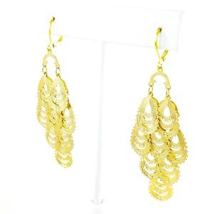 Boho Gypsy Dangle Earrings Gold Tone